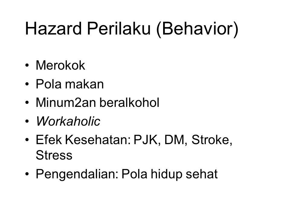 Hazard Perilaku (Behavior) Merokok Pola makan Minum2an beralkohol Workaholic Efek Kesehatan: PJK, DM, Stroke, Stress Pengendalian: Pola hidup sehat