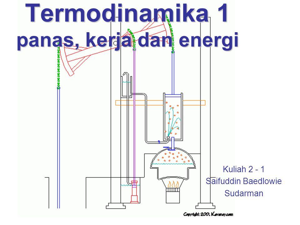 Termodinamika 1 Kuliah 2-1 Teknik Mesin UMM22 Tanda yang disetujui untuk transfer energi oleh kerja adalah; 1.Kerja diberikan oleh sistem adalah positif, 2.Kerja diberikan pada sistem adalah negatif, Untuk kuasi-setimbang adiabatik, proses kompresi atau ekspansi gas dengan nilai eksponen politropik n adalah tetap (n = 1.4 untuk udara) dan luas dibawah kurva tergantung hanya pada keadaan akhir.