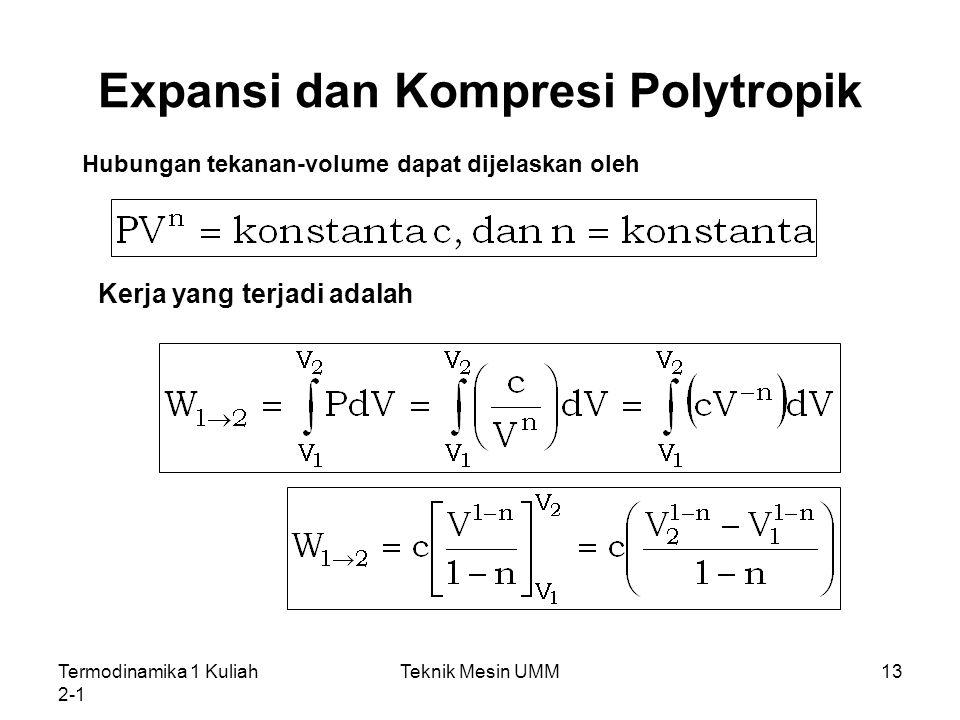 Termodinamika 1 Kuliah 2-1 Teknik Mesin UMM13 Expansi dan Kompresi Polytropik Hubungan tekanan-volume dapat dijelaskan oleh Kerja yang terjadi adalah