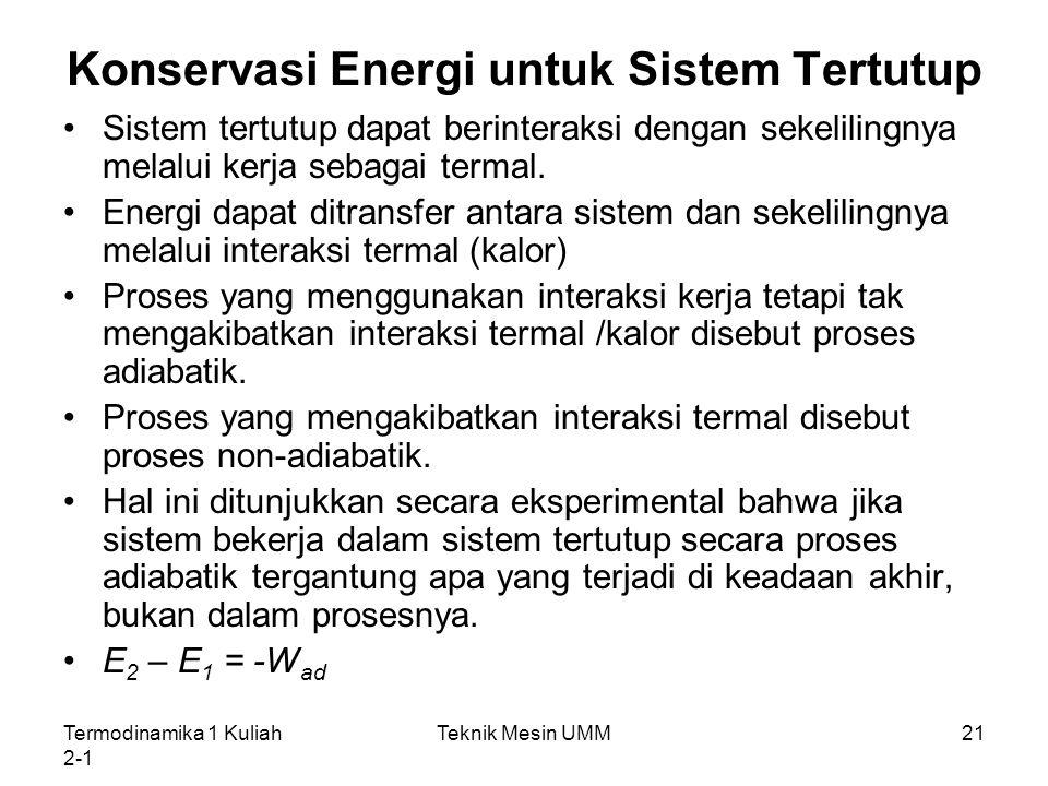 Termodinamika 1 Kuliah 2-1 Teknik Mesin UMM21 Konservasi Energi untuk Sistem Tertutup Sistem tertutup dapat berinteraksi dengan sekelilingnya melalui