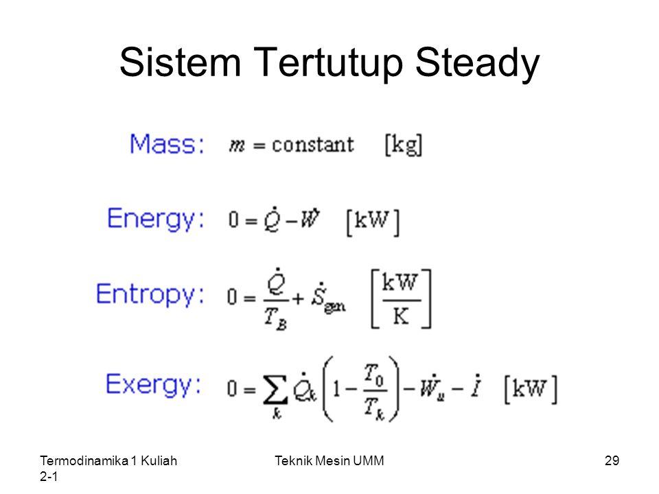 Termodinamika 1 Kuliah 2-1 Teknik Mesin UMM29 Sistem Tertutup Steady
