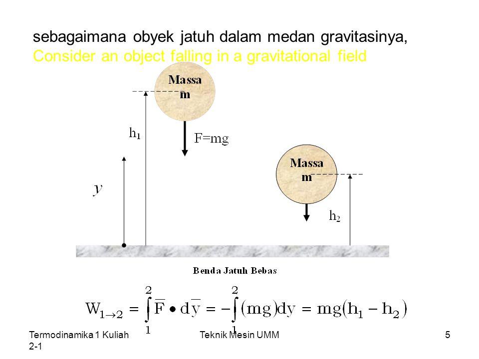 Termodinamika 1 Kuliah 2-1 Teknik Mesin UMM6 Gravitasi memiliki potensial untuk melakukan kerja dan kuantitasnya mgh adalah sesuatu yang disebut sebagai Energi Potensial.