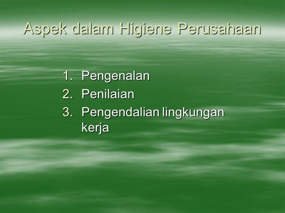 Aspek dalam Higiene Perusahaan 1.Pengenalan 2.Penilaian 3.Pengendalian lingkungan kerja
