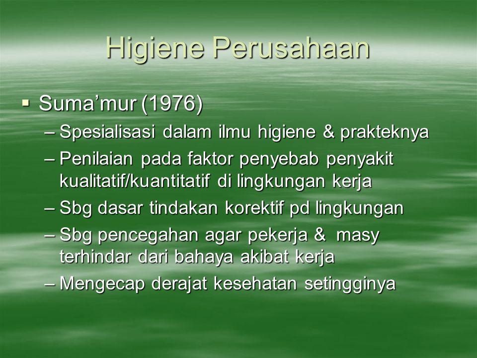 Higiene Perusahaan  Suma'mur (1976) –Spesialisasi dalam ilmu higiene & prakteknya –Penilaian pada faktor penyebab penyakit kualitatif/kuantitatif di