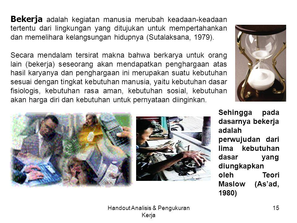 Handout Analisis & Pengukuran Kerja 15 Bekerja adalah kegiatan manusia merubah keadaan-keadaan tertentu dari lingkungan yang ditujukan untuk mempertah