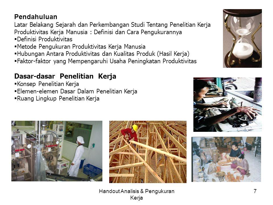 Handout Analisis & Pengukuran Kerja 7 Pendahuluan Latar Belakang Sejarah dan Perkembangan Studi Tentang Penelitian Kerja Produktivitas Kerja Manusia :