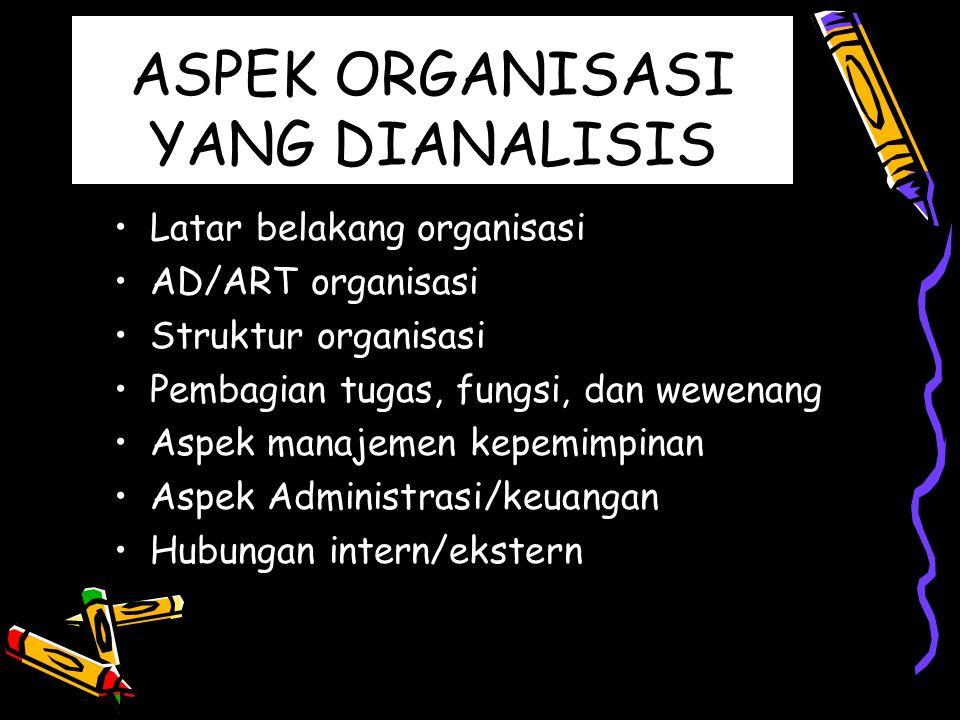 ASPEK ORGANISASI YANG DIANALISIS Latar belakang organisasi AD/ART organisasi Struktur organisasi Pembagian tugas, fungsi, dan wewenang Aspek manajemen
