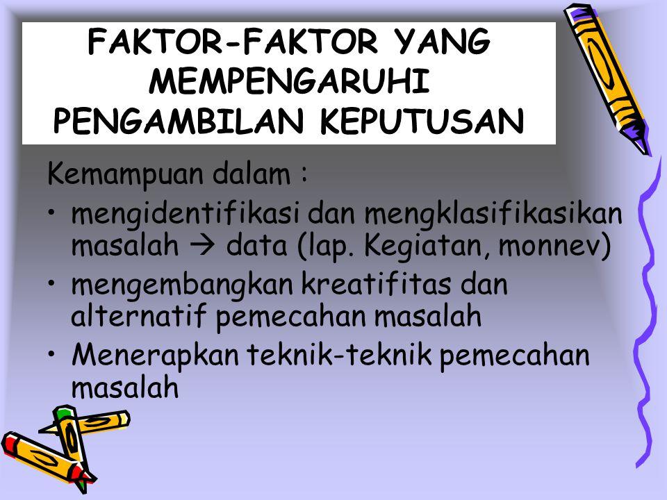 FAKTOR-FAKTOR YANG MEMPENGARUHI PENGAMBILAN KEPUTUSAN Kemampuan dalam : mengidentifikasi dan mengklasifikasikan masalah  data (lap. Kegiatan, monnev)