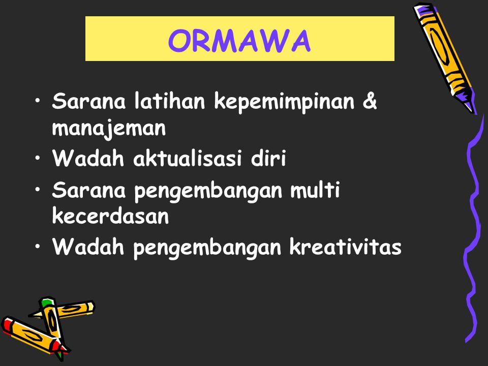 Sarana latihan kepemimpinan & manajeman Wadah aktualisasi diri Sarana pengembangan multi kecerdasan Wadah pengembangan kreativitas ORMAWA