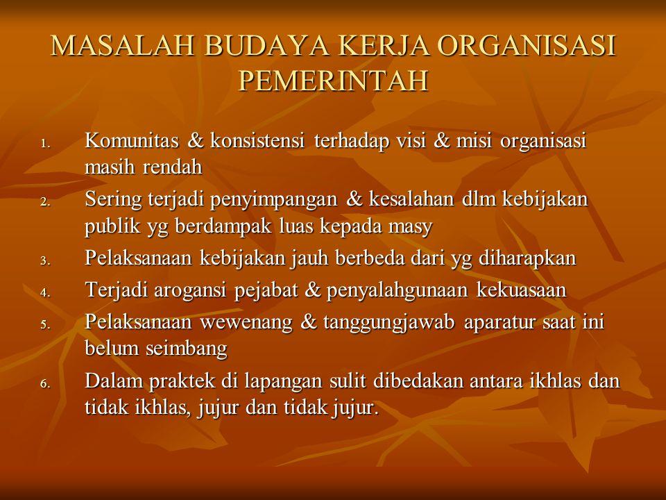 MASALAH BUDAYA KERJA ORGANISASI PEMERINTAH MASALAH BUDAYA KERJA ORGANISASI PEMERINTAH