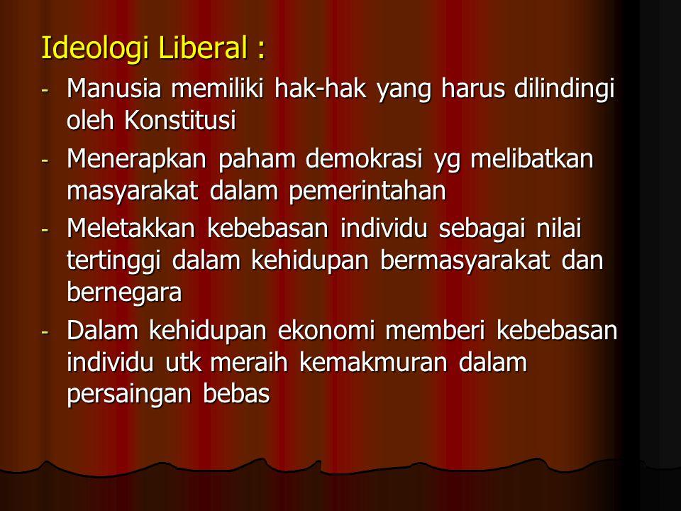 Ideologi Komunis : - Semua kegiatan masyarakat dibidang apapun didominasi oleh pemerintah - Menolak ajaran agama apapun dan tidak mempercayai adanya T