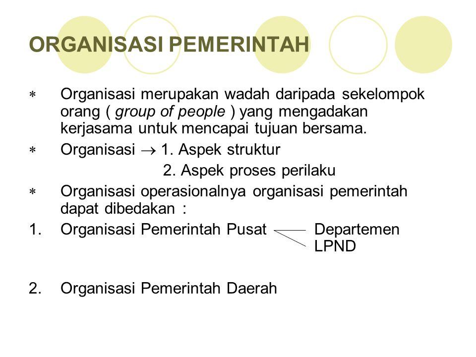 DALAM ORGANISASI TERDAPAT 2 ASPEK :  Aspek struktur organisasi yang meliputi: pengelompokan orang secara formal dan bagian organisasi  Aspek proses