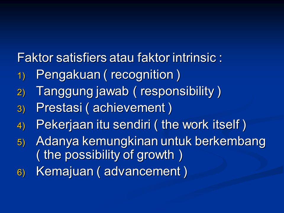 TEORI DUA FAKTOR HERZBERG Faktor dissatisfiers atau faktor extrinsic : 1) Gaji atau upah 2) Keamanan kerja 3) Kondisi kerja 4) Status 5) Kebijaksanaan