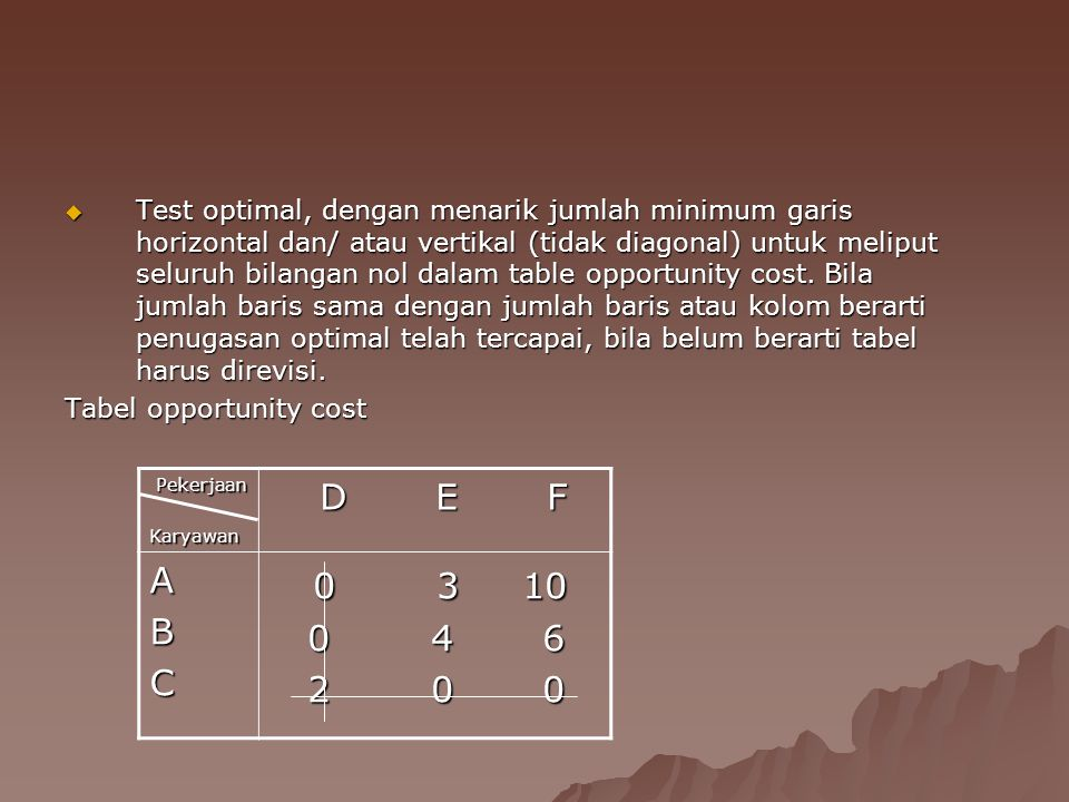  Test optimal, dengan menarik jumlah minimum garis horizontal dan/ atau vertikal (tidak diagonal) untuk meliput seluruh bilangan nol dalam table opportunity cost.
