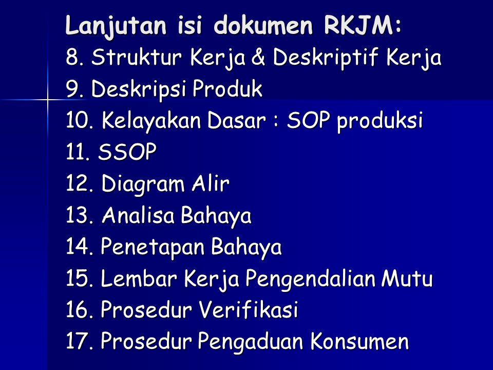 Lanjutan isi dokumen RKJM: 8. Struktur Kerja & Deskriptif Kerja 9. Deskripsi Produk 10. Kelayakan Dasar : SOP produksi 11. SSOP 12. Diagram Alir 13. A
