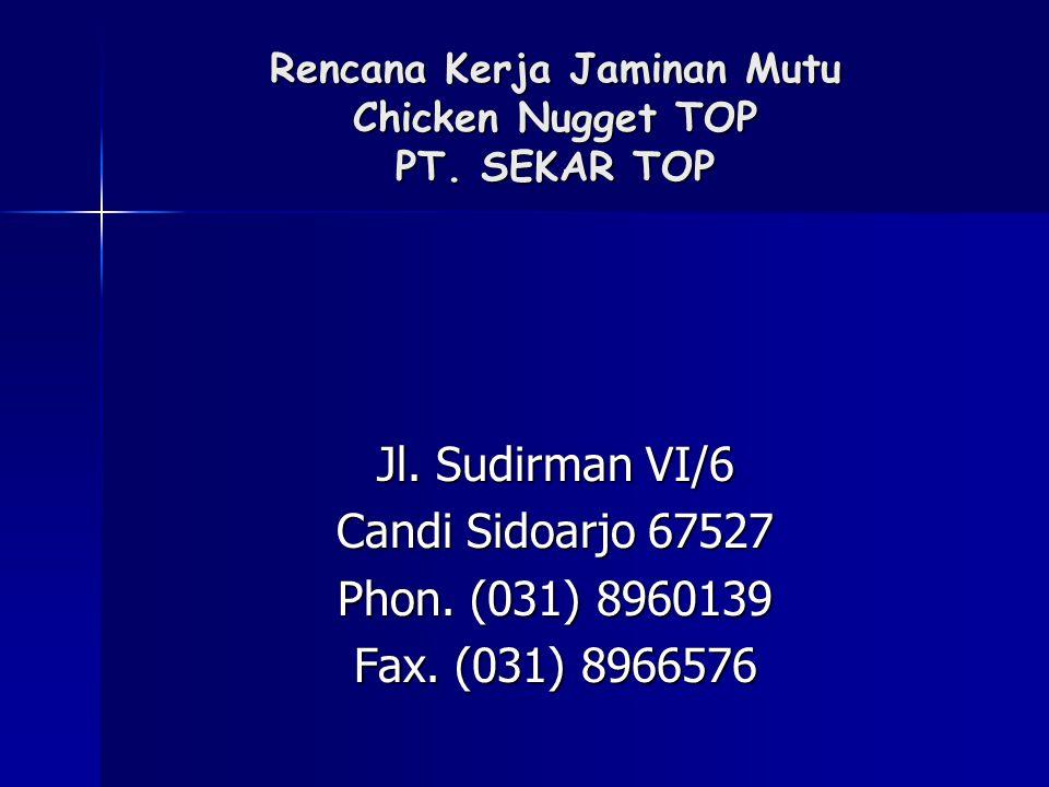 Rencana Kerja Jaminan Mutu Chicken Nugget TOP PT. SEKAR TOP Jl. Sudirman VI/6 Candi Sidoarjo 67527 Phon. (031) 8960139 Fax. (031) 8966576