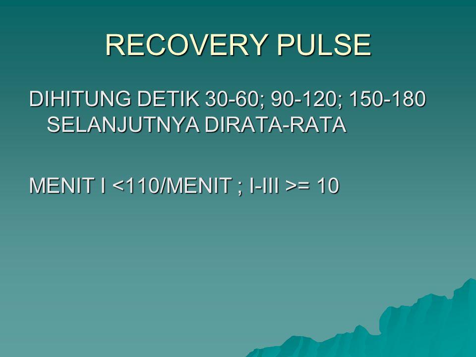 RECOVERY PULSE DIHITUNG DETIK 30-60; 90-120; 150-180 SELANJUTNYA DIRATA-RATA MENIT I = 10