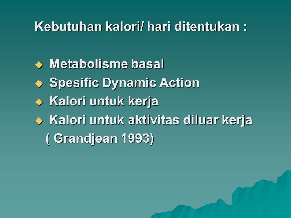 Kebutuhan kalori/ hari ditentukan :  Metabolisme basal  Spesific Dynamic Action  Kalori untuk kerja  Kalori untuk aktivitas diluar kerja ( Grandje