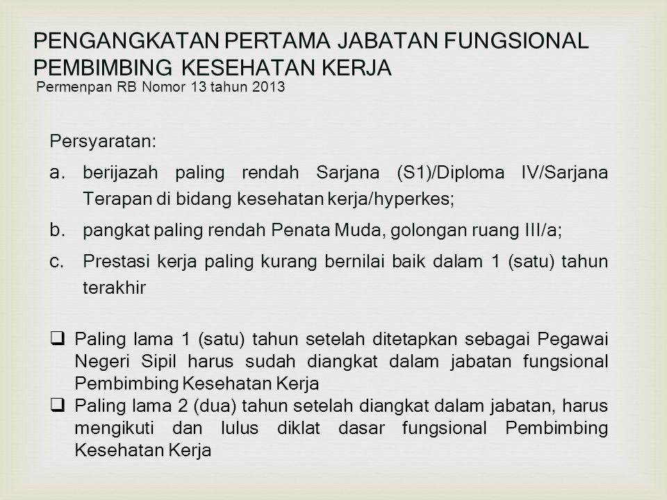 PENGANGKATAN PERTAMA JABATAN FUNGSIONAL PEMBIMBING KESEHATAN KERJA Permenpan RB Nomor 13 tahun 2013 Persyaratan: a. berijazah paling rendah Sarjana (S
