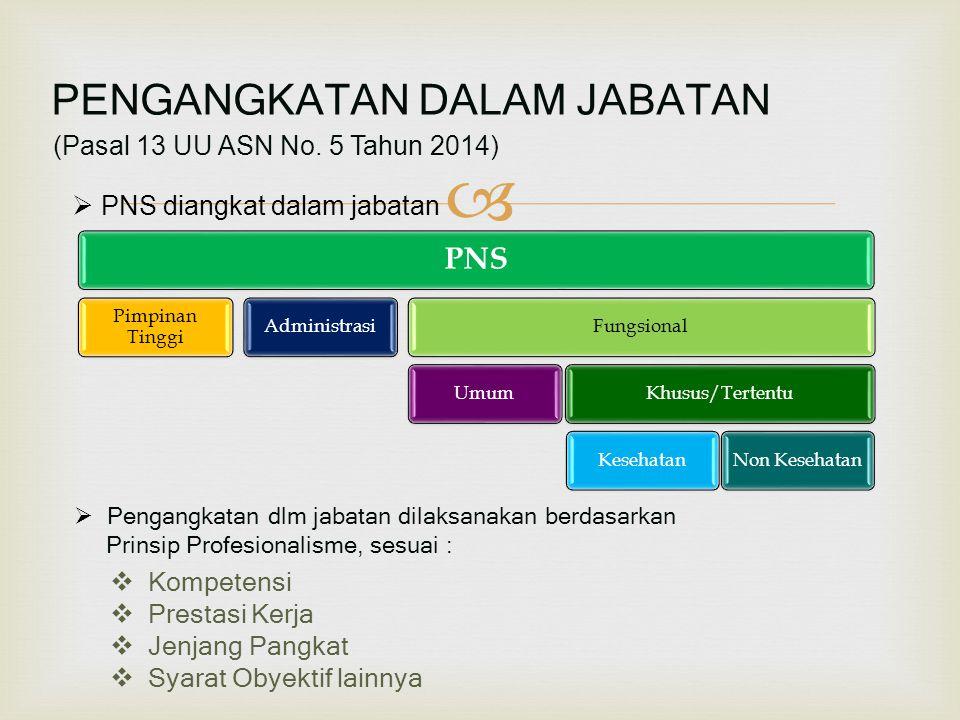  (Pasal 13 UU ASN No. 5 Tahun 2014)  PNS diangkat dalam jabatan  Pengangkatan dlm jabatan dilaksanakan berdasarkan Prinsip Profesionalisme, sesuai