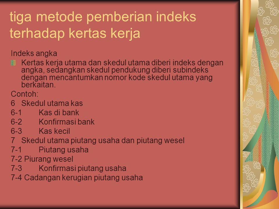 tiga metode pemberian indeks terhadap kertas kerja Indeks angka Kertas kerja utama dan skedul utama diberi indeks dengan angka, sedangkan skedul pendu