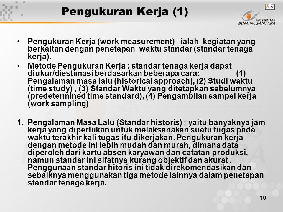 10 Pengukuran Kerja (1) Pengukuran Kerja (work measurement) : ialah kegiatan yang berkaitan dengan penetapan waktu standar (standar tenaga kerja). Met