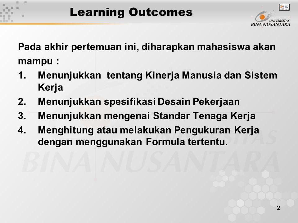 2 Learning Outcomes Pada akhir pertemuan ini, diharapkan mahasiswa akan mampu : 1.Menunjukkan tentang Kinerja Manusia dan Sistem Kerja 2.Menunjukkan s