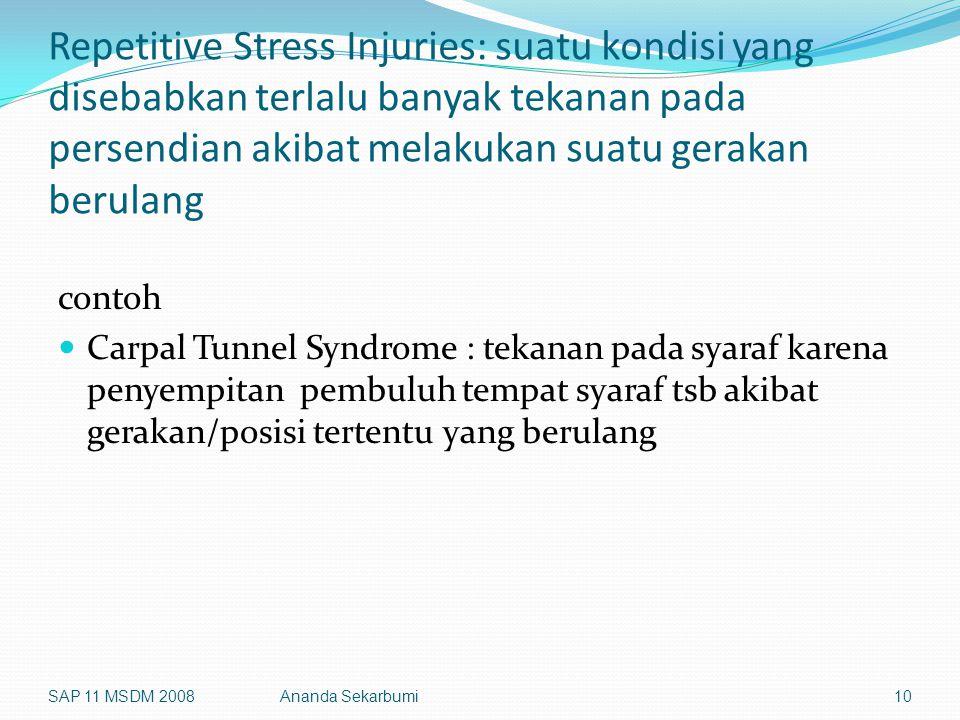 Repetitive Stress Injuries: suatu kondisi yang disebabkan terlalu banyak tekanan pada persendian akibat melakukan suatu gerakan berulang contoh Carpal