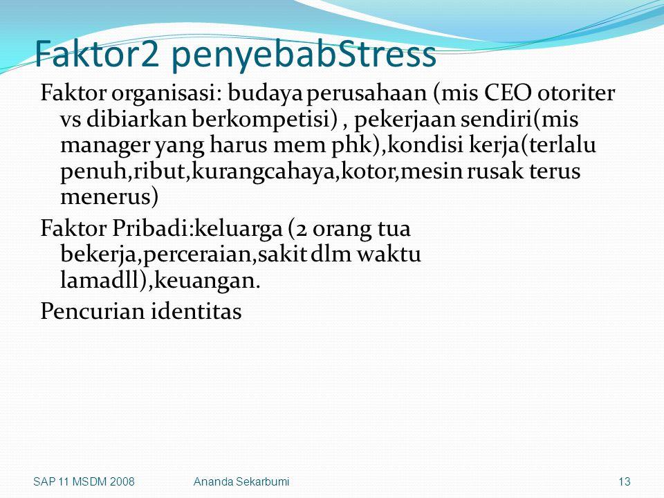 Faktor2 penyebabStress Faktor organisasi: budaya perusahaan (mis CEO otoriter vs dibiarkan berkompetisi), pekerjaan sendiri(mis manager yang harus mem