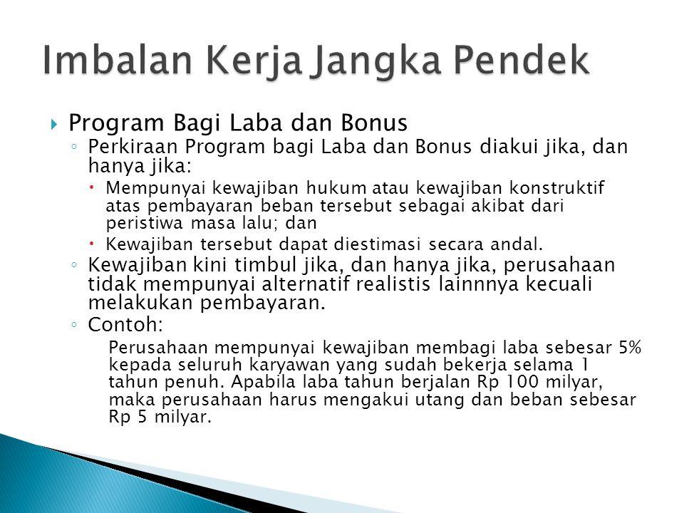  Program Bagi Laba dan Bonus ◦ Perkiraan Program bagi Laba dan Bonus diakui jika, dan hanya jika:  Mempunyai kewajiban hukum atau kewajiban konstruk