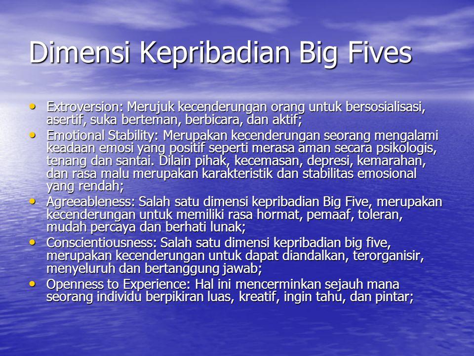 Dimensi Kepribadian Big Fives Extroversion: Merujuk kecenderungan orang untuk bersosialisasi, asertif, suka berteman, berbicara, dan aktif; Extroversi