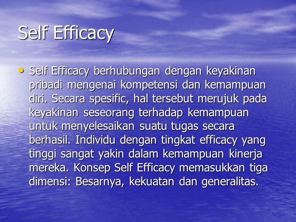 Self Efficacy Self Efficacy berhubungan dengan keyakinan pribadi mengenai kompetensi dan kemampuan diri. Secara spesific, hal tersebut merujuk pada ke
