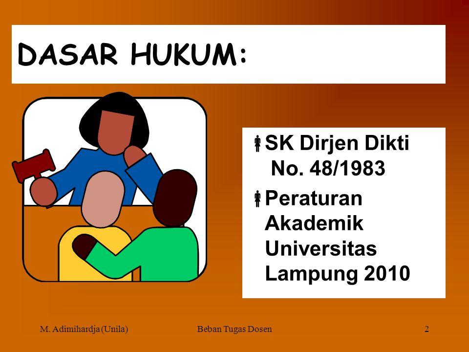 BEBAN TUGAS DOSEN Disajikan oleh Mintarsih Adimihardja Universitas Lampung Pada PELATIHAN CALON ASESOR BEBAN TUGAS DOSEN UNIVERSITAS LAMPUNG 16 NOVEMB