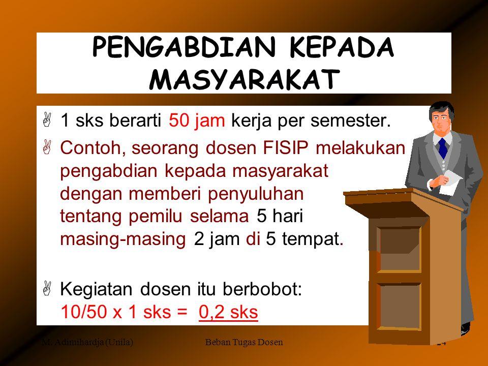 M. Adimihardja (Unila)Beban Tugas Dosen23 TUGAS BELAJAR [Program doktor/ma- gister: 12 sks [Akta mengajar (AA, pekerti): 6 sks [Kursus  6 bulan: 6 sk
