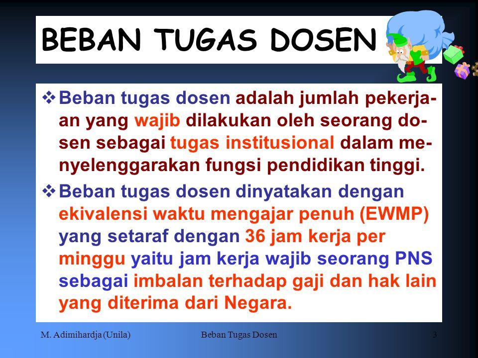 M. Adimihardja (Unila)Beban Tugas Dosen2 DASAR HUKUM:  SK Dirjen Dikti No. 48/1983  Peraturan Akademik Universitas Lampung 2010