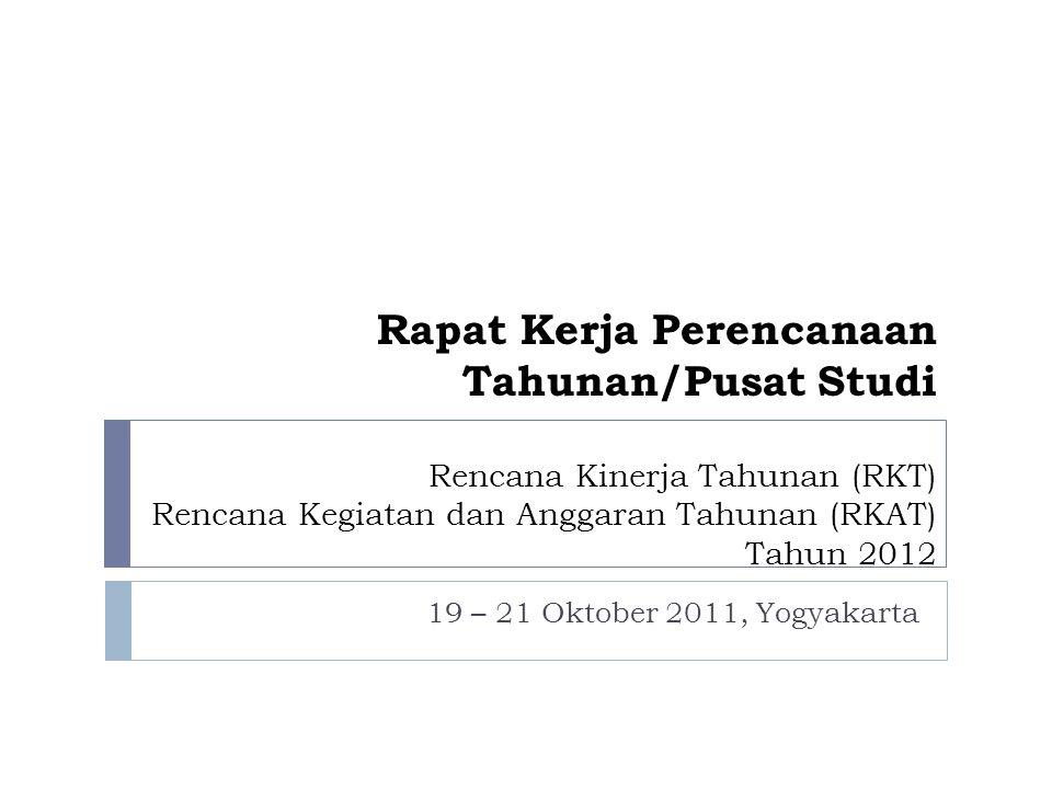 Bahan yang dipresentasikan  RKT & RKAT 2012 Pusat Studi Indikator KinerjaJumlah Kegiatan yang direncanakan Target Capaian Indikator secara Umum Rencana Anggaran Rupiah % 1.