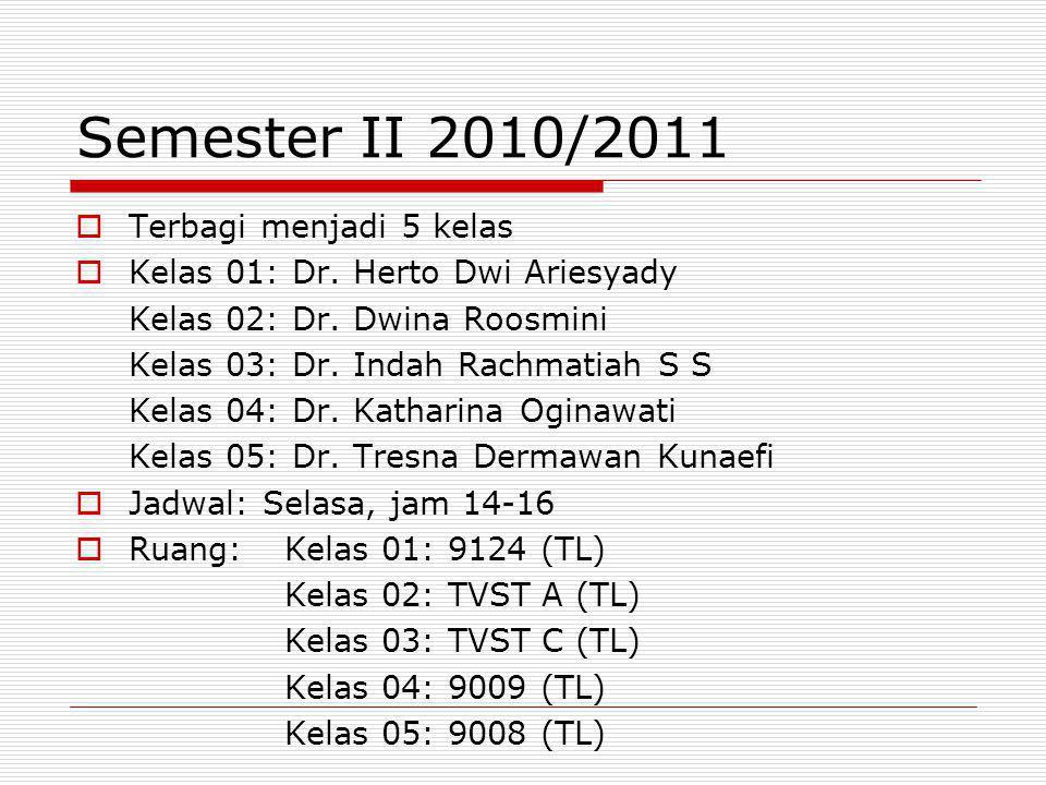 Semester II 2010/2011  Terbagi menjadi 5 kelas  Kelas 01: Dr. Herto Dwi Ariesyady Kelas 02: Dr. Dwina Roosmini Kelas 03: Dr. Indah Rachmatiah S S Ke