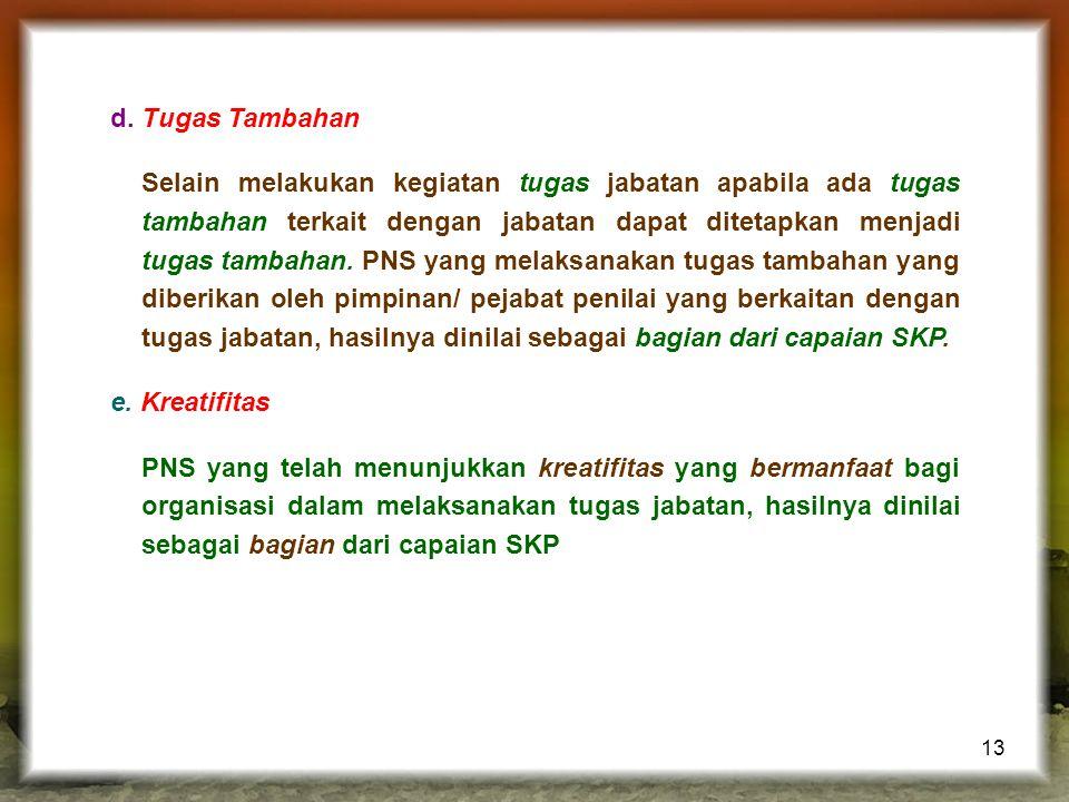 13 d.Tugas Tambahan Selain melakukan kegiatan tugas jabatan apabila ada tugas tambahan terkait dengan jabatan dapat ditetapkan menjadi tugas tambahan.