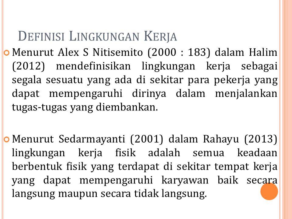 D EFINISI L INGKUNGAN K ERJA Menurut Alex S Nitisemito (2000 : 183) dalam Halim (2012) mendefinisikan lingkungan kerja sebagai segala sesuatu yang ada