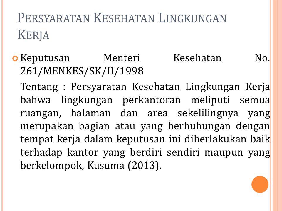 P ERSYARATAN K ESEHATAN L INGKUNGAN K ERJA Keputusan Menteri Kesehatan No. 261/MENKES/SK/II/1998 Tentang : Persyaratan Kesehatan Lingkungan Kerja bahw