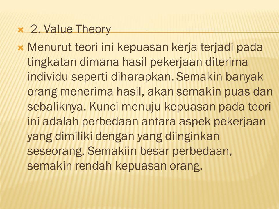  2. Value Theory  Menurut teori ini kepuasan kerja terjadi pada tingkatan dimana hasil pekerjaan diterima individu seperti diharapkan. Semakin banya