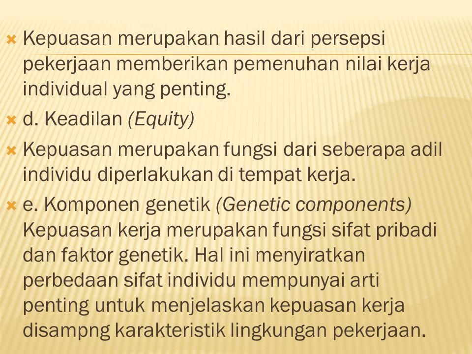  Kepuasan merupakan hasil dari persepsi pekerjaan memberikan pemenuhan nilai kerja individual yang penting.  d. Keadilan (Equity)  Kepuasan merupak