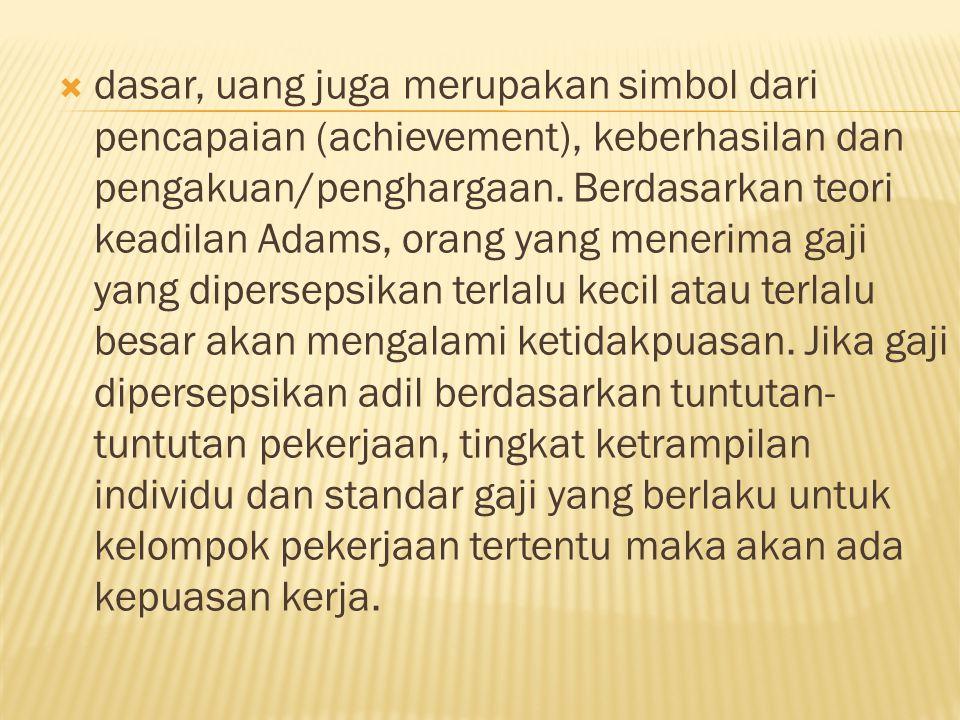  dasar, uang juga merupakan simbol dari pencapaian (achievement), keberhasilan dan pengakuan/penghargaan.