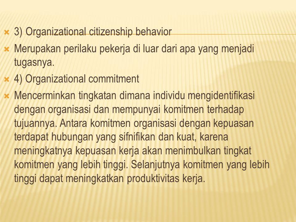  3) Organizational citizenship behavior  Merupakan perilaku pekerja di luar dari apa yang menjadi tugasnya.  4) Organizational commitment  Mencerm
