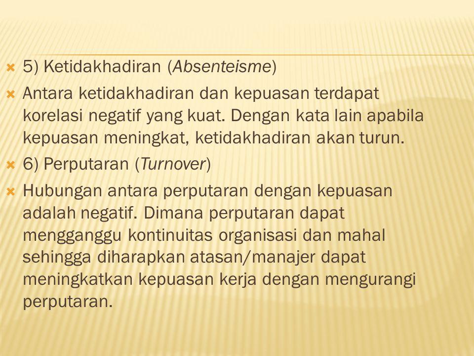  5) Ketidakhadiran (Absenteisme)  Antara ketidakhadiran dan kepuasan terdapat korelasi negatif yang kuat.