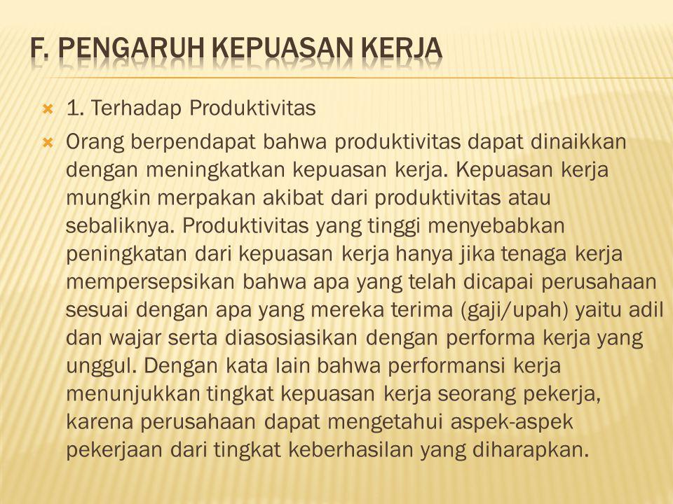  1. Terhadap Produktivitas  Orang berpendapat bahwa produktivitas dapat dinaikkan dengan meningkatkan kepuasan kerja. Kepuasan kerja mungkin merpaka