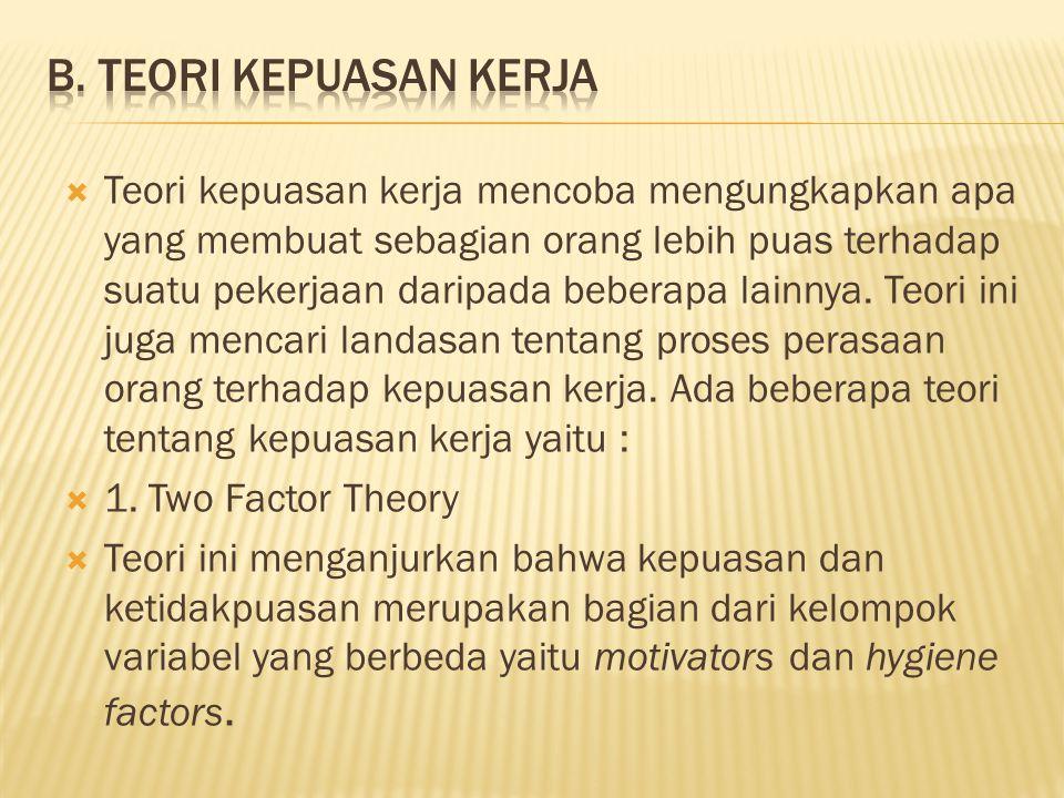 Teori kepuasan kerja mencoba mengungkapkan apa yang membuat sebagian orang lebih puas terhadap suatu pekerjaan daripada beberapa lainnya.