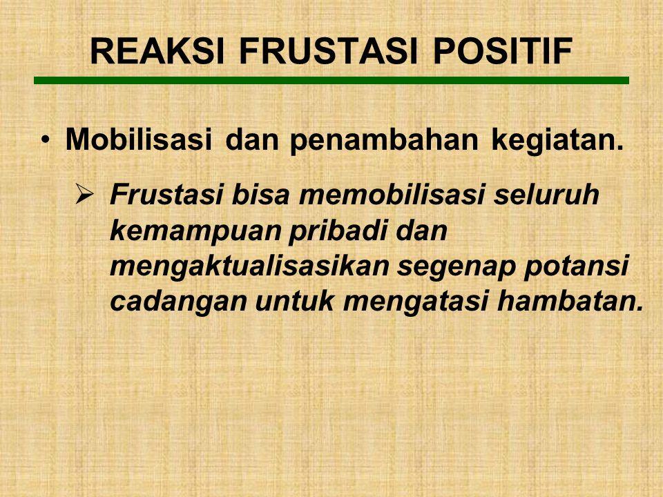 REAKSI FRUSTASI POSITIF Reaksi frustasi yang positif, antara lain: 1.Mobilisasi dan penambahan kegiatan. 2.Bessinung (Mawas dengan Kebeningan Hati). 3