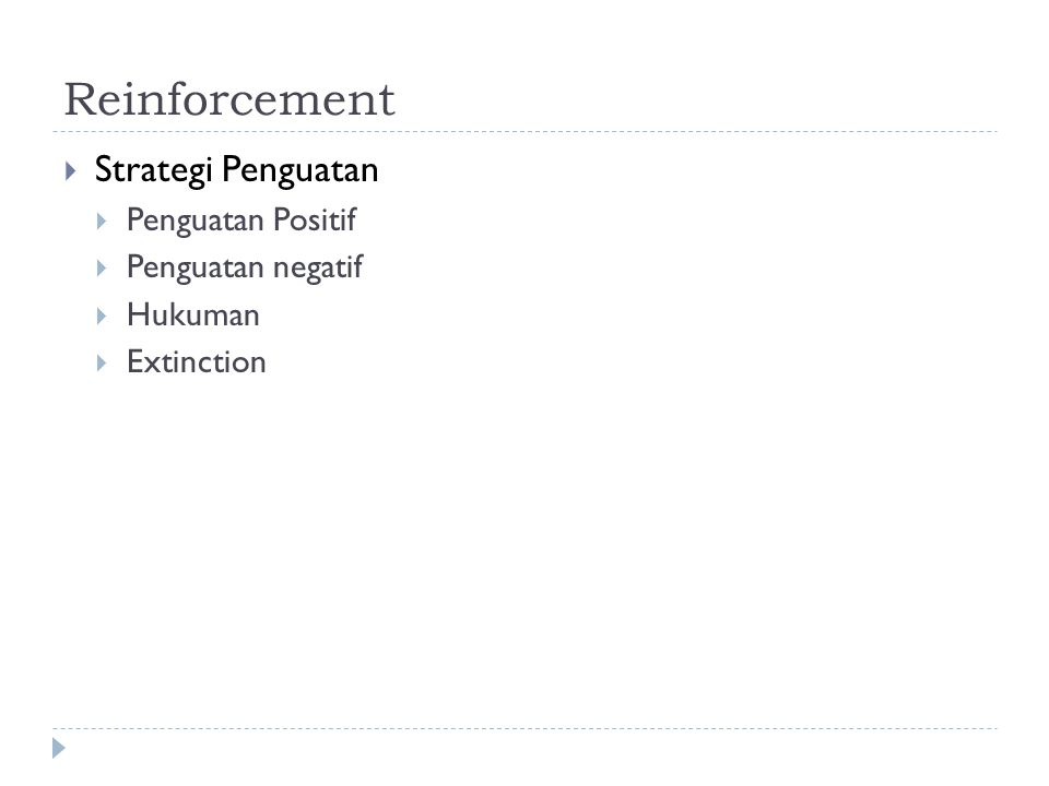 Reinforcement  Strategi Penguatan  Penguatan Positif  Penguatan negatif  Hukuman  Extinction