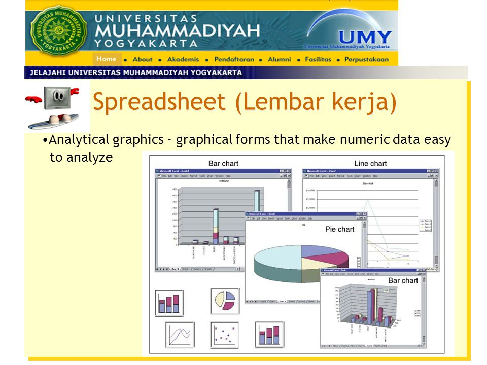 Spreadsheet (Lembar kerja) Analytical graphics - graphical forms that make numeric data easy to analyze